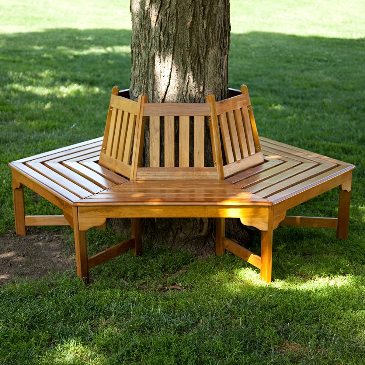 Coral Coast Fillmore Wood Outdoor Hexagonal Tree Bench