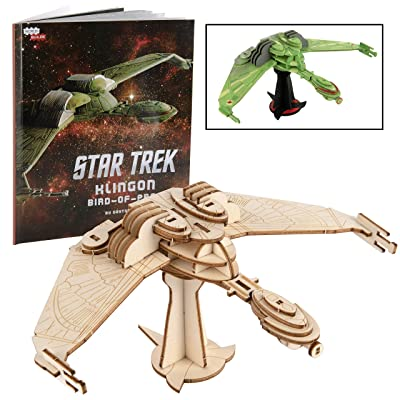 Star Trek: Klingon Bird-of-Prey Model Figure Kit and Book - Build, Paint and Collect Your Own 3D Wooden Toy Space Ship Model - Kids and Adults: Toys & Games