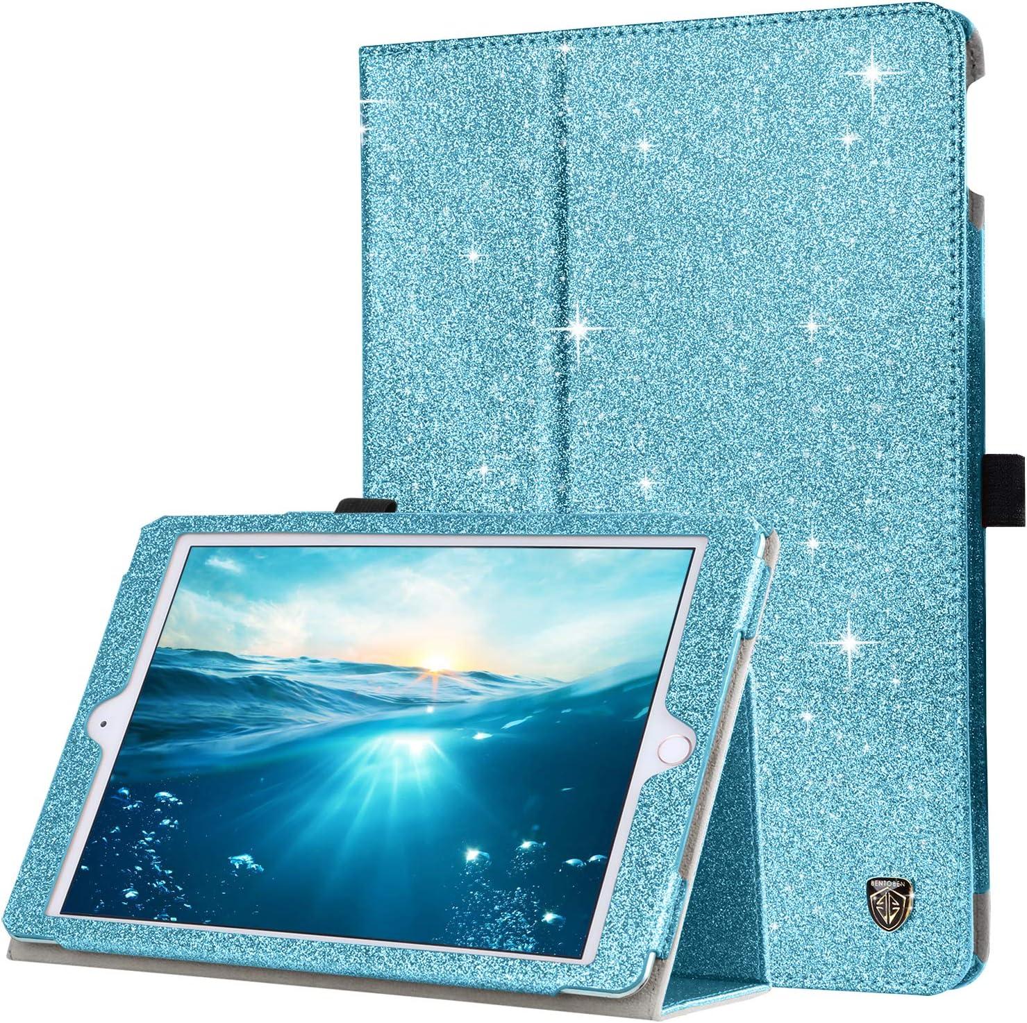 BENTOBEN iPad Air 2 Case, iPad Air 1 Case, iPad 6th Generation Case, iPad 5th Gen Case, Glitter PU Leather Folio Stand Smart Cover Auto Wake/Sleep Case for iPad Air 1/2, iPad 9.7 2018/2017, Deep Blue