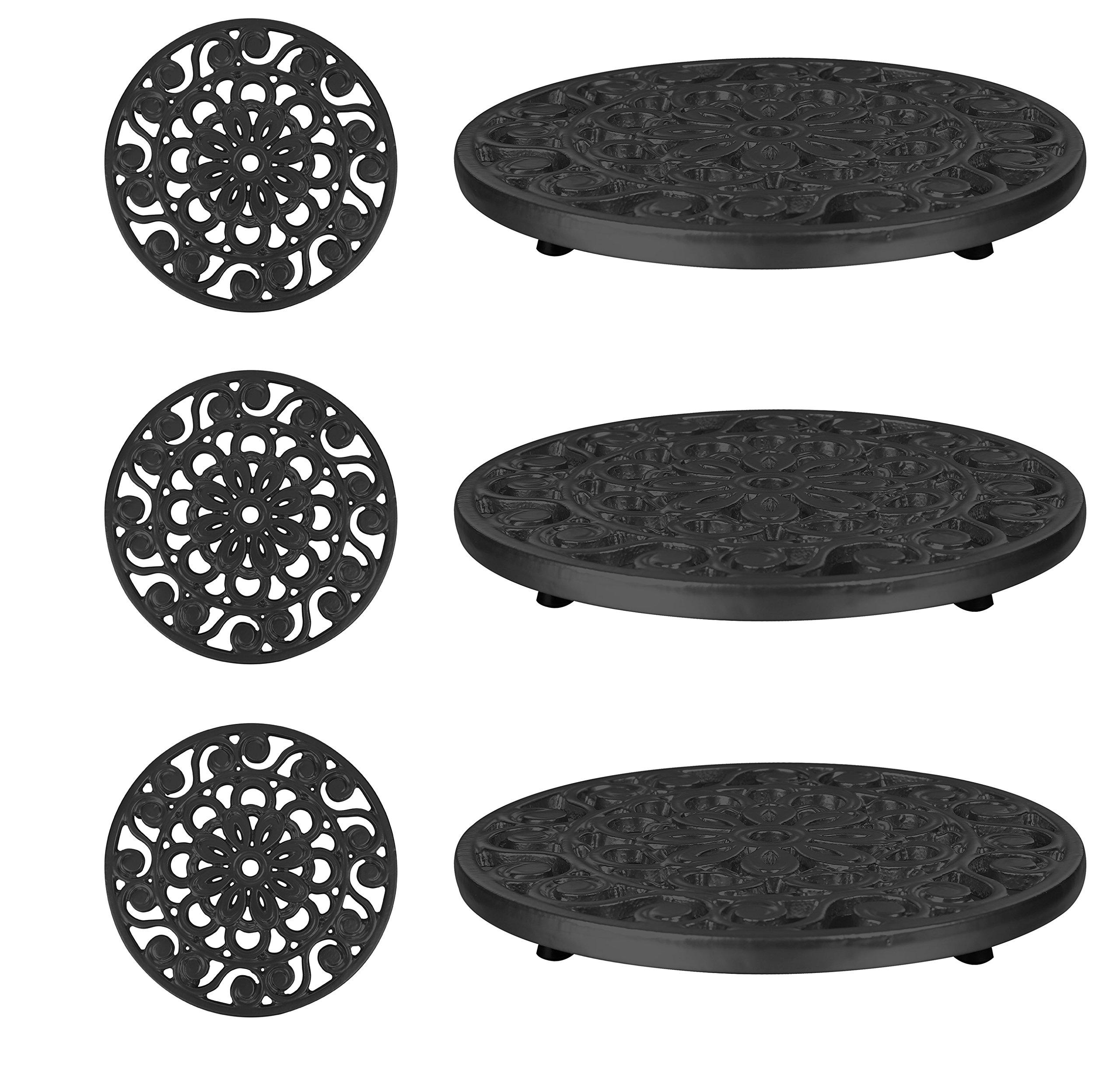 Trademark Innovations Set of 3 Decorative Cast Iron Metal Trivets (Black)