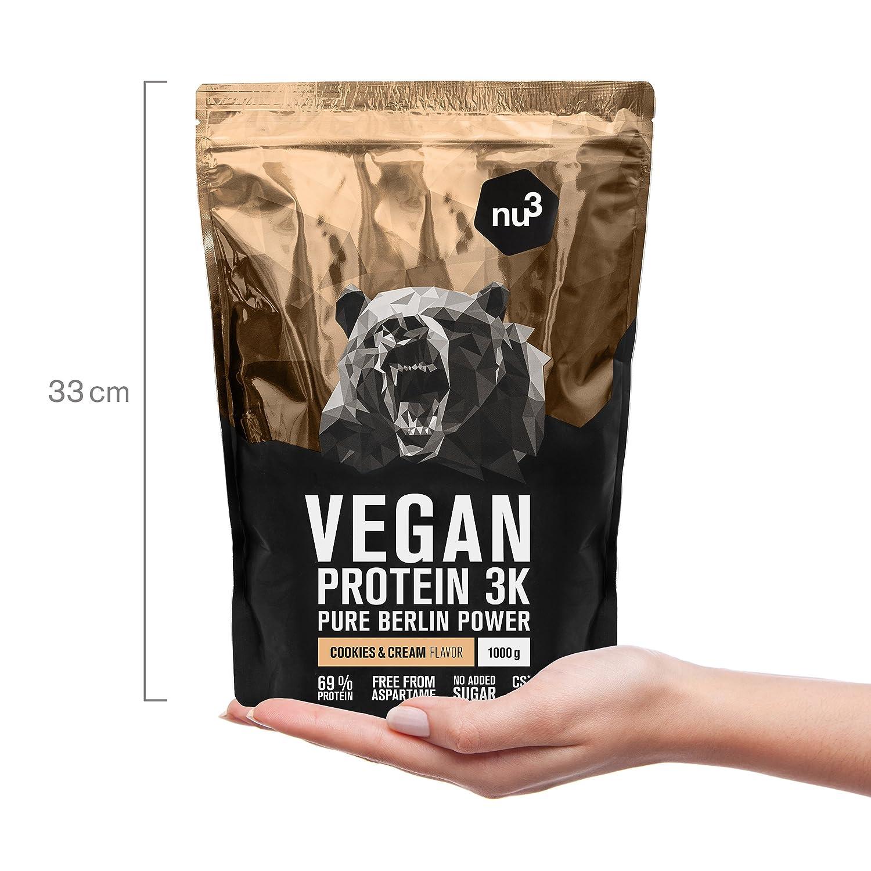 nu3 - Proteína vegana 3K - 2kg de fórmula - 69% de proteína a base de 3 componentes vegetales - Proteínas para el crecimiento de la masa muscular con ...