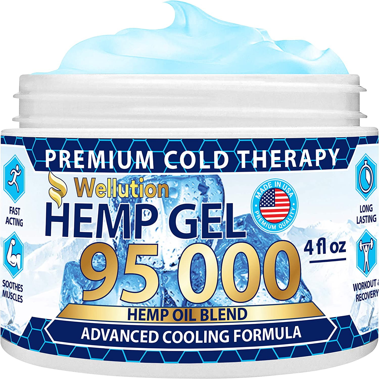 Hemp Gel 95,000 - Maximum Strength Formula for Muscle, Back, Nerve, Knee, Joint Pain Relief - All-Natural Blend of Arnica, Coconut Oil, Chamomile, Menthol, Vitamin E - Cooling, Soothing, Relaxing