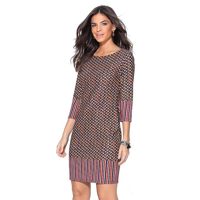 VENCA Vestido Escote Redondeado Mujer by Vencastyle - 145115: Amazon.es: Ropa y accesorios