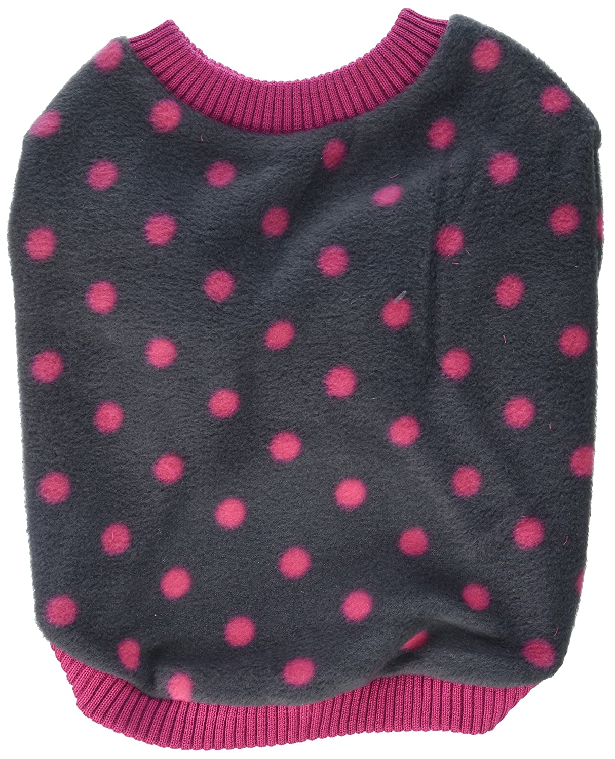 Large Grey Pink Polka Dot Extra Soft Fleece Sweater Pink Trim [Small Dogs], Large