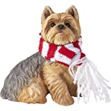 Sandicast Yorkshire Terrier with Red and White Scarf Christmas Ornament
