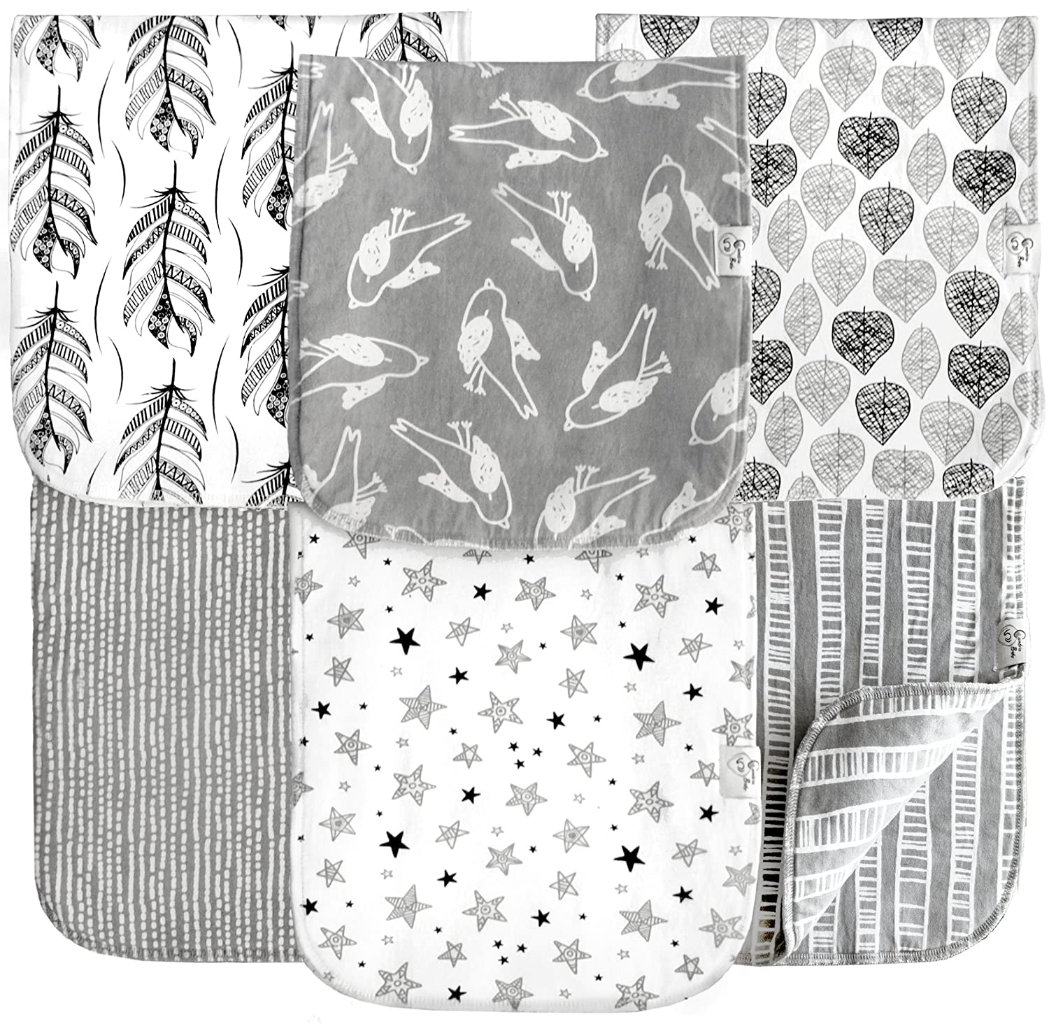 6 Pack Extra Large Organic Cotton Burp Cloths, Unisex, Reversible, with 3 Layer Inner Fleece Absorbency, 10