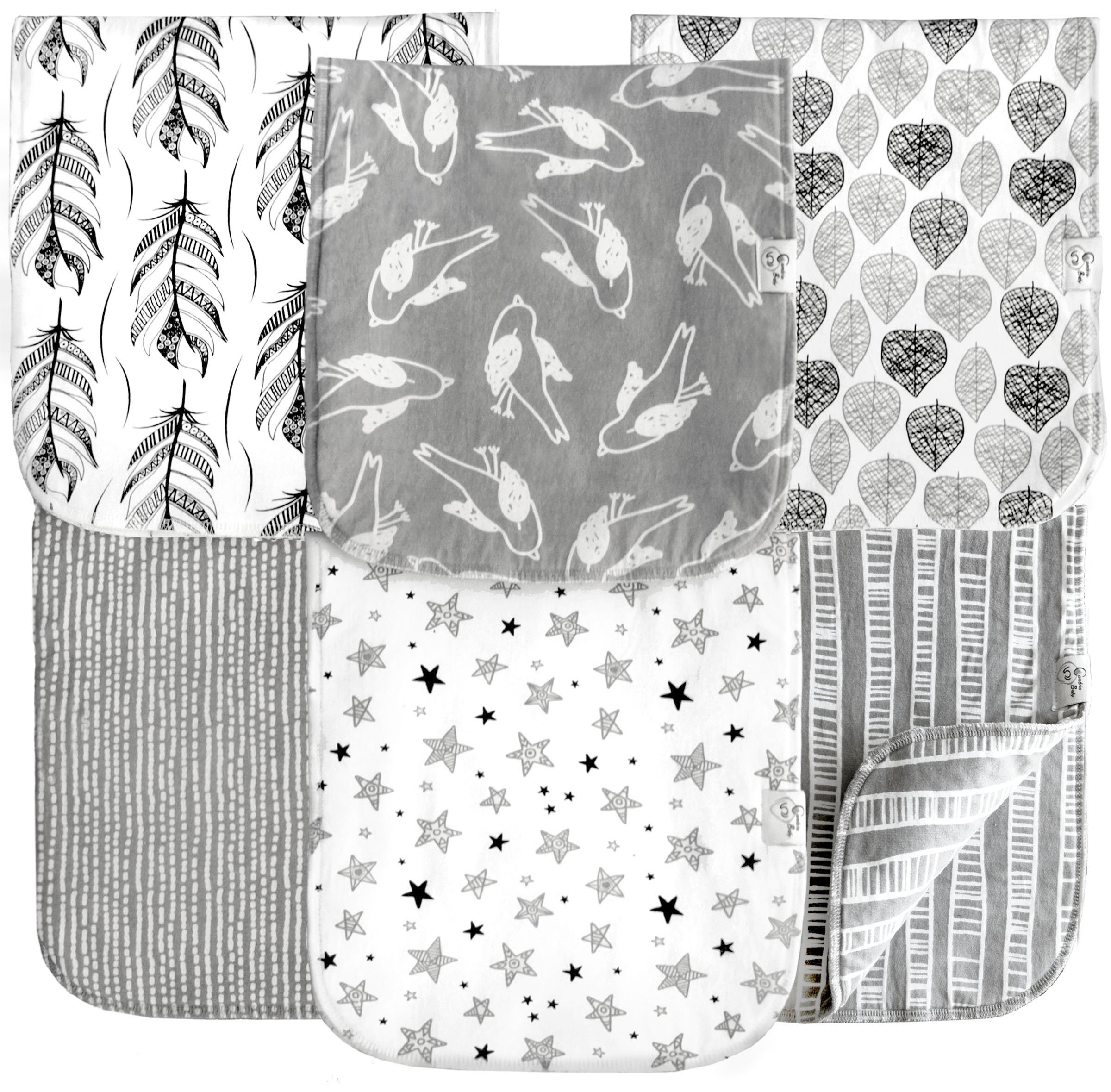 6 Pack Extra Large Organic Cotton Burp Cloths, Unisex, Reversible, with 3 Layer Inner Fleece Absorbency, 10''x22'', Neutral Patterns Boys and Girls