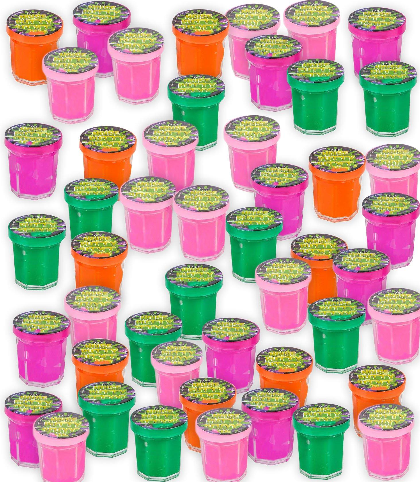 4E's Novelty 48 Pack Mini Noise Putty Slime Bulk Assortment, Great Birthday Party Favors Supplies, for Kids Boys Girls, 1.25'' Great Gag Gift