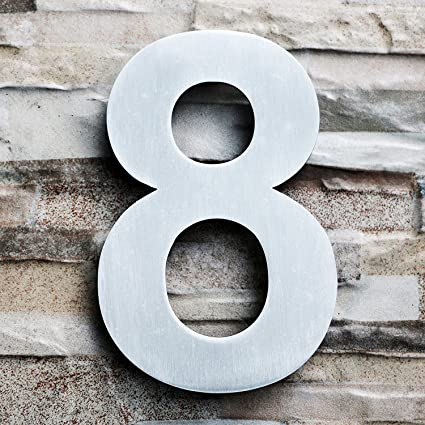 Qt modern house number large 8 inch brushed stainless steel number 8 eight