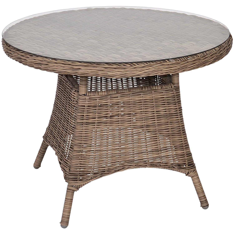 Tisch Tafel Garten Serie Salondi Brocard Ø100x75cm rund grau Glasplatte