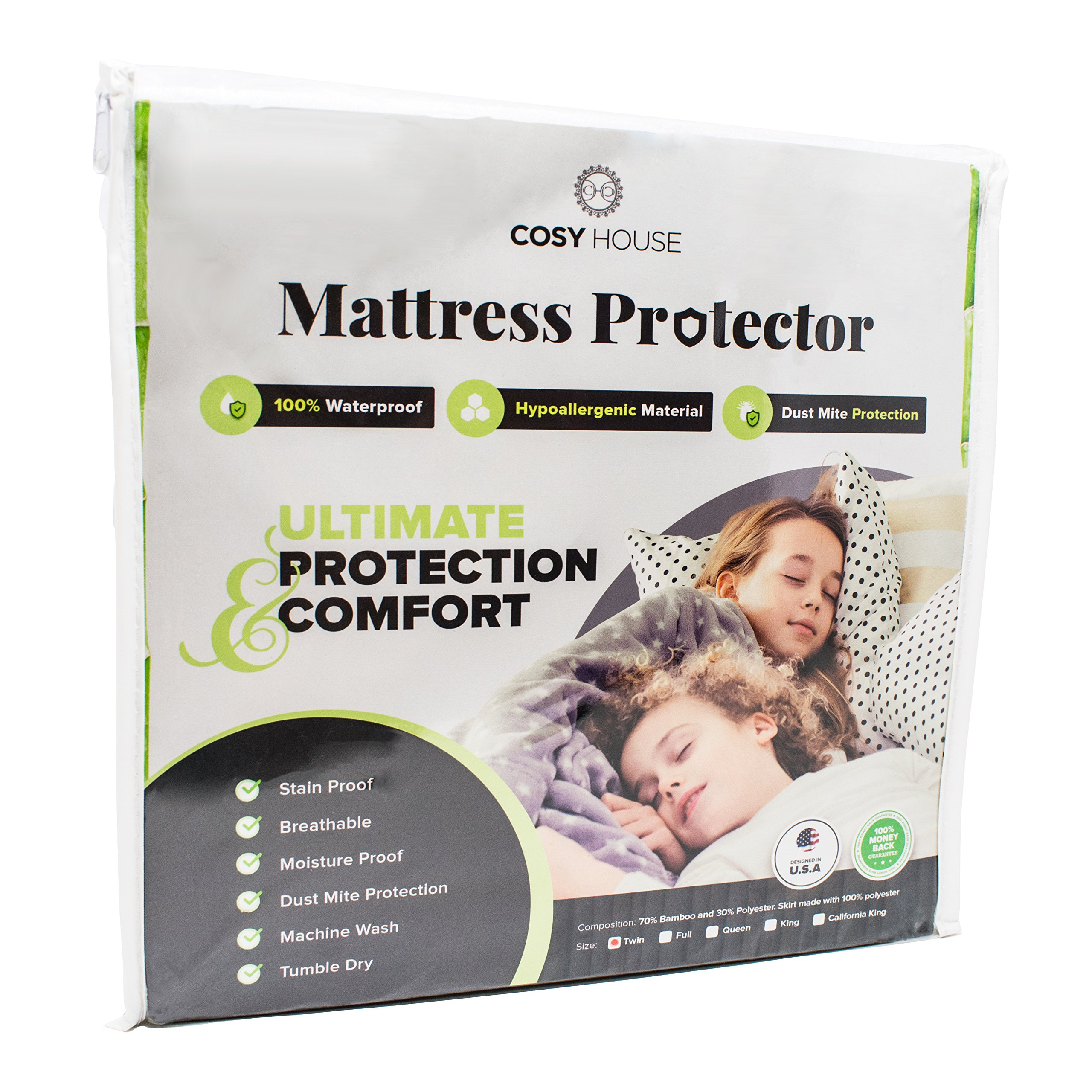 Full Size Bamboo Mattress Protector Waterproof, Hypoallergenic - Protection Against Bed Bugs, Dust Mites, Allergens, Bacteria - Perfect For Those With Kids, Allergies, Asthma, Eczema or Pets
