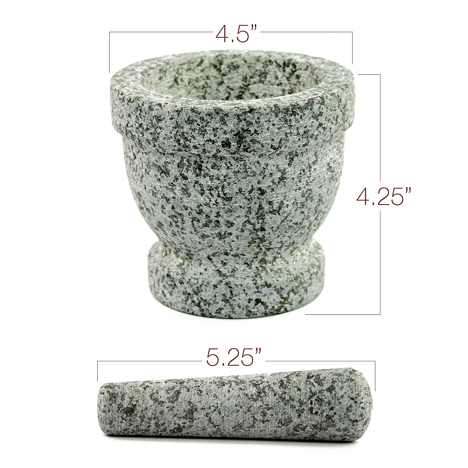 Anti Skid Protective Pad Unpolished Granite with FREE Herb Stripper and Anti Scratch Granite Mortar and Pestle Set