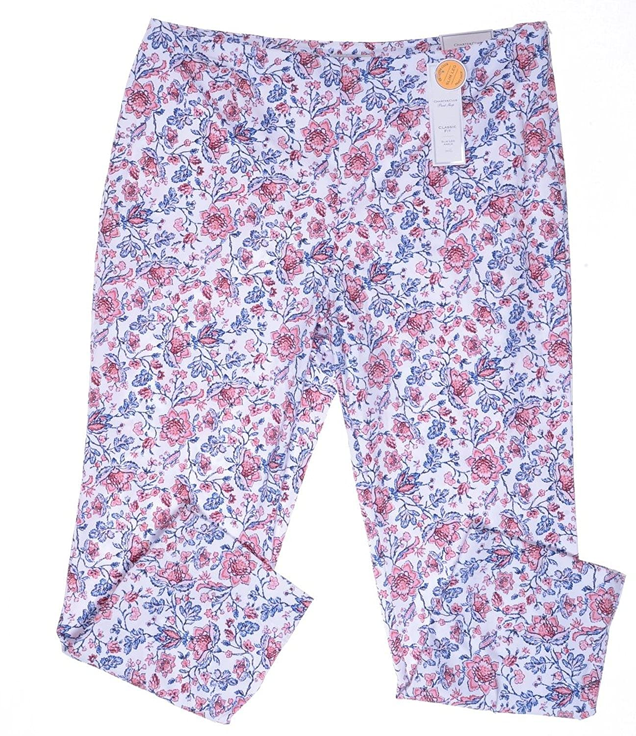 Charter Club Womens Classic Fit Side-Zip Skinny Floral Ankle Pants Strawbery 18