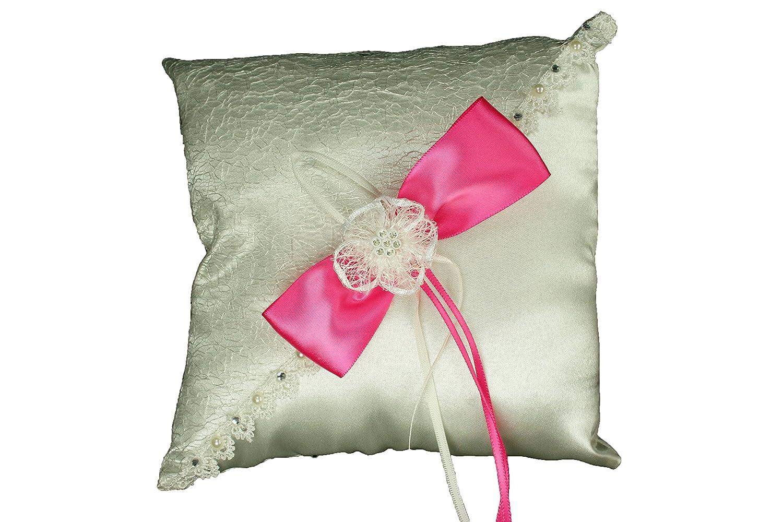 Amazon.com: IVORY Wedding Ring Pillow with Sisal Mesh Design Satin ...