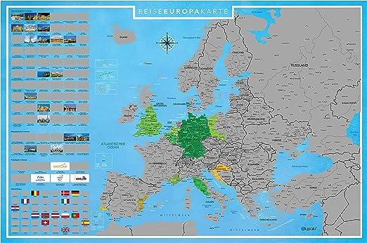 Blupalu I Xxl Europakarte Zum Rubbeln I Silber I Mit Lander