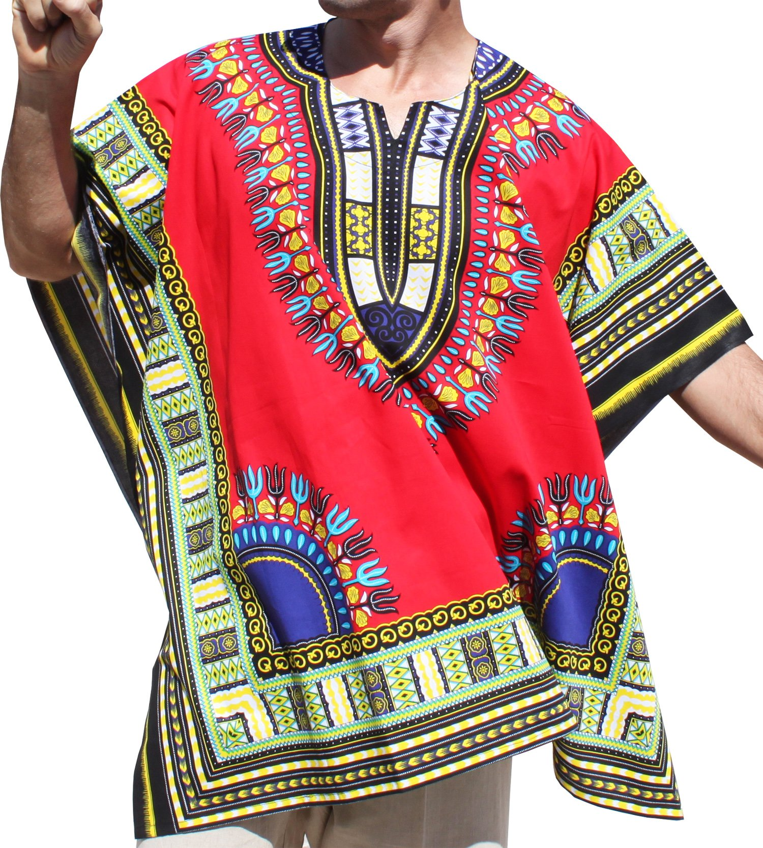 RaanPahMuang Brand Throw Over Poncho Top (Fully Open Sides) African Dashiki Art, Red by RaanPahMuang (Image #1)