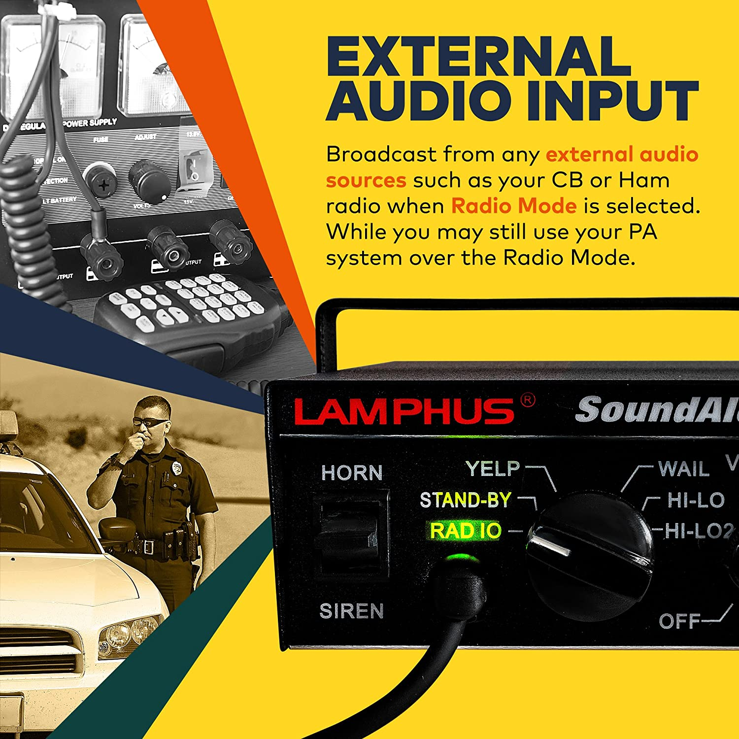 Lamphus Soundalert Siren Speaker Pa System 100w 6 Wiring Diagram Horn Modes Heavy Duty 120 130db Microphone Hands Free Dual 20a Switches Emergency