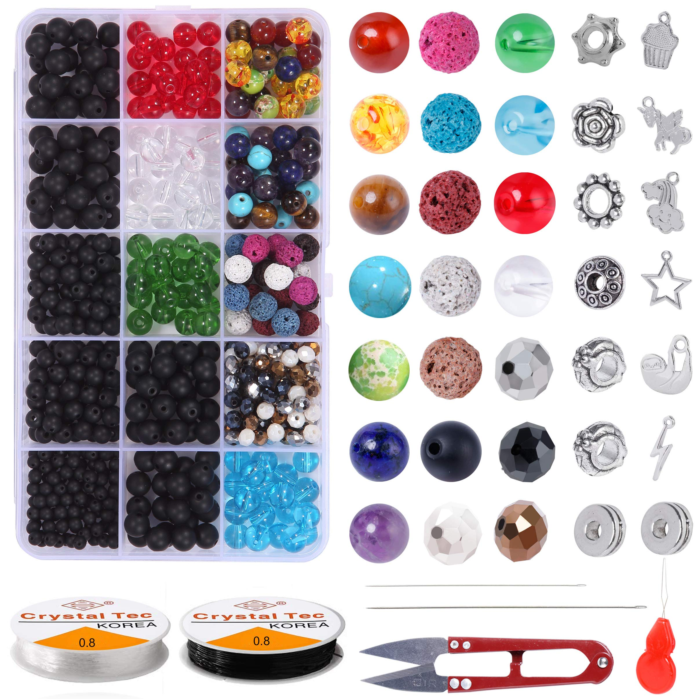 Bracelet Making Kit Beads Bulk - 662PCS Black Agate Bead Bulk 100% Natural Chakra Bead Color Briolette Bead Color Lava Rock Bead Glass Bead with 2 Roll Crystal String Bracelet Charm for Jewelry Making by YUGDRUZY