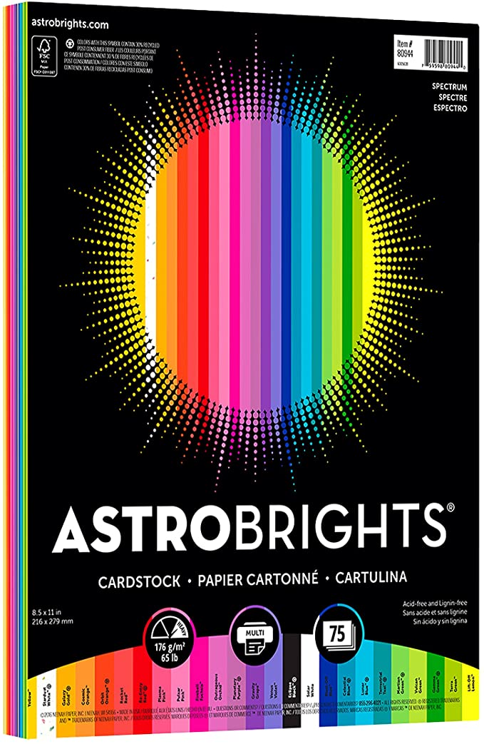 """75 65 lb//176 gsm 8.5/"""" x 11/"""" White Astrobrights//Neenah Bright White Cardstock"""