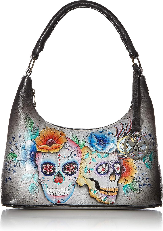 Anuschka Women's Genuine Leather Shoulder Bag | Top Zip Hobo | Hand Painted