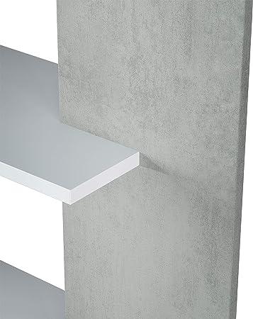 Habitdesign 0L2252A - Estantería 5 baldas, Librería Comedor Salon, Color Blanco Artik y Gris Cemento, Modelo Alida, Medidas: 90 cm (Largo) x 180 cm (Alto) x 25 cm (Fondo)
