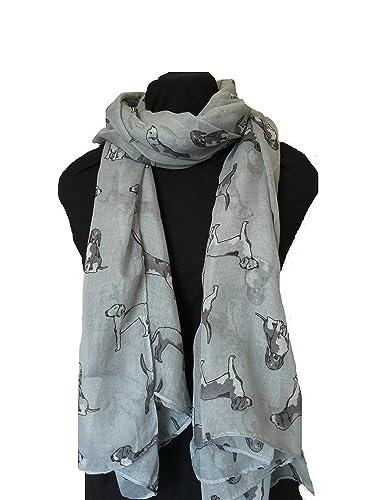 Bufanda gris con diseño beagles gris. Bufanda perro perro. -- Grey with grey beagles dogs scarf fash...