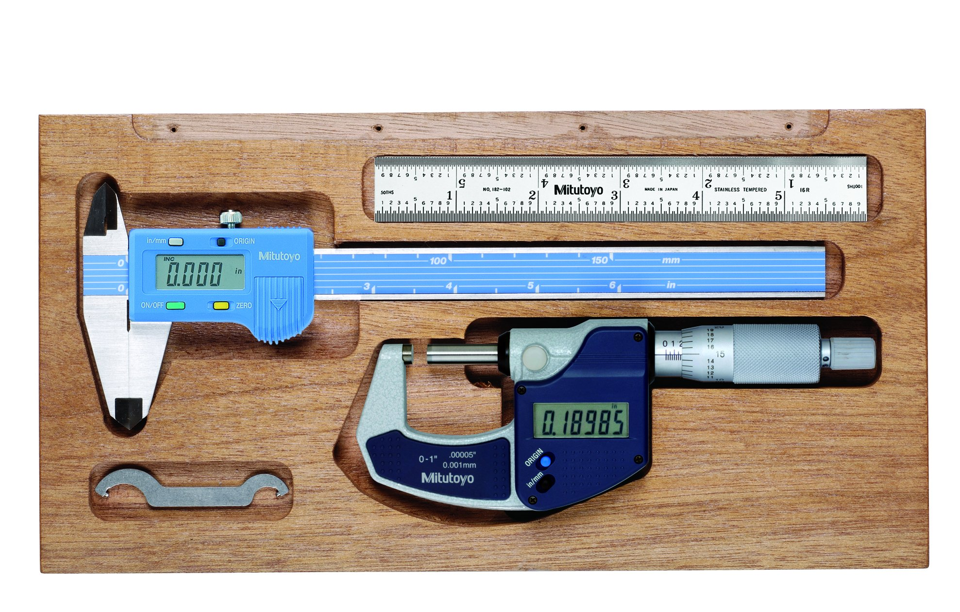 Mitutoyo 64PKA073B Tool Package, Digmatic, INCH, with 6'' Mycal Lite Caliper, 1'' Digital Micrometer, 6'' Steel Rule (Pack of 4)