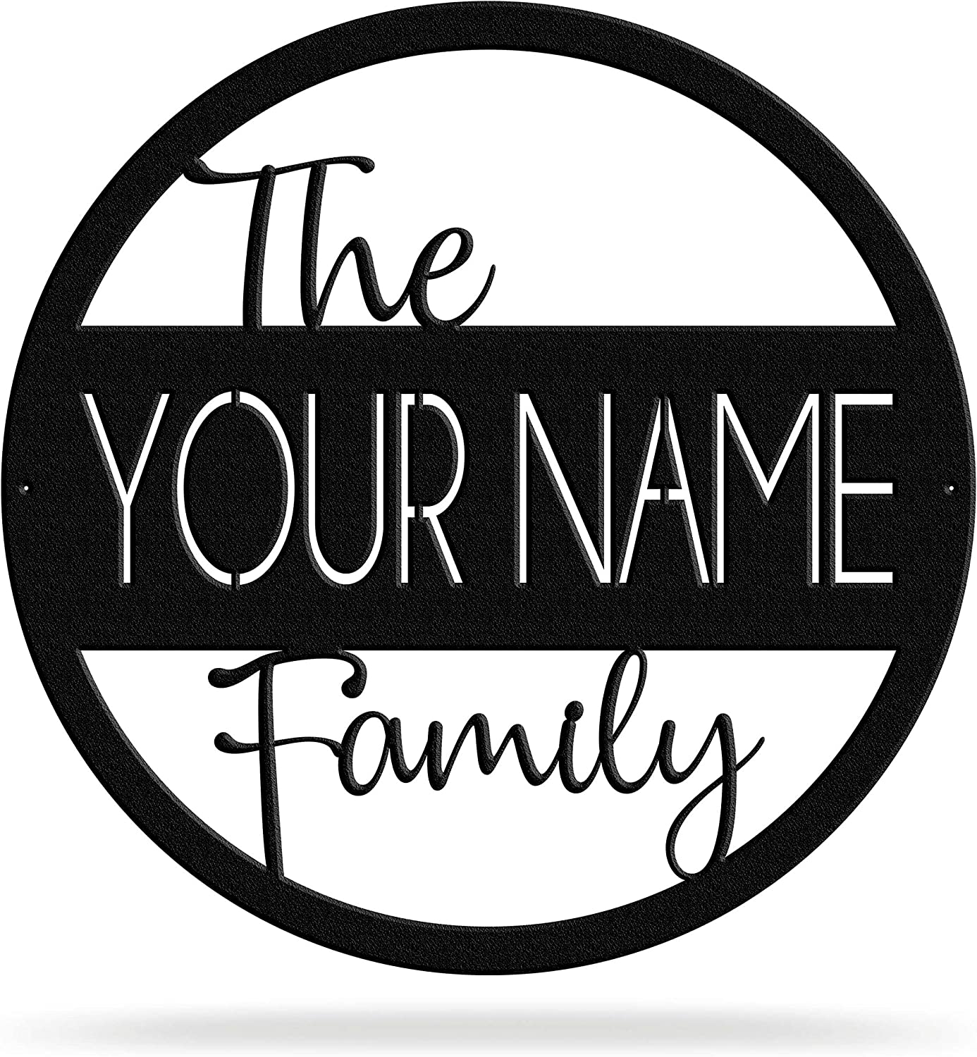 Bluewater Decor Family Name Monogram Decorative Wall Hanging   Personalized Wall Art, Room Decor for Home, Living Room, Kitchen   Customizable Wall Sign in Gold, Silver, Black, and Multiple Sizes