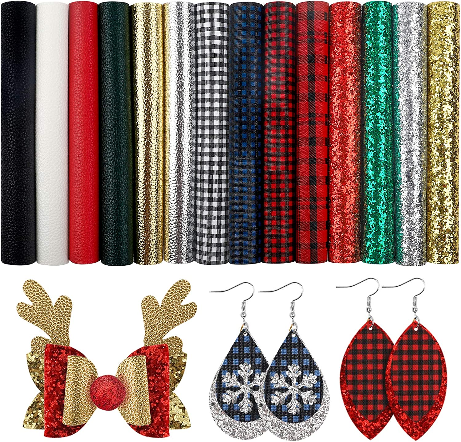 6.3 Inches x 8.3 Inches and DIY Sewing Craft Bows Wallet Jewelry SGHUO 14pcs Christmas Faux Leather Sheets Embossed Fabric Sheets for Making Earrings