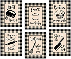 Buffalo Plaid Kitchen Canvas Wall Art Decor - Prints Posters Kitchenware with Sayings Unframed Home Dining Room Cafe Restaurant Signs Bar Decorations , Set of 6 ,8