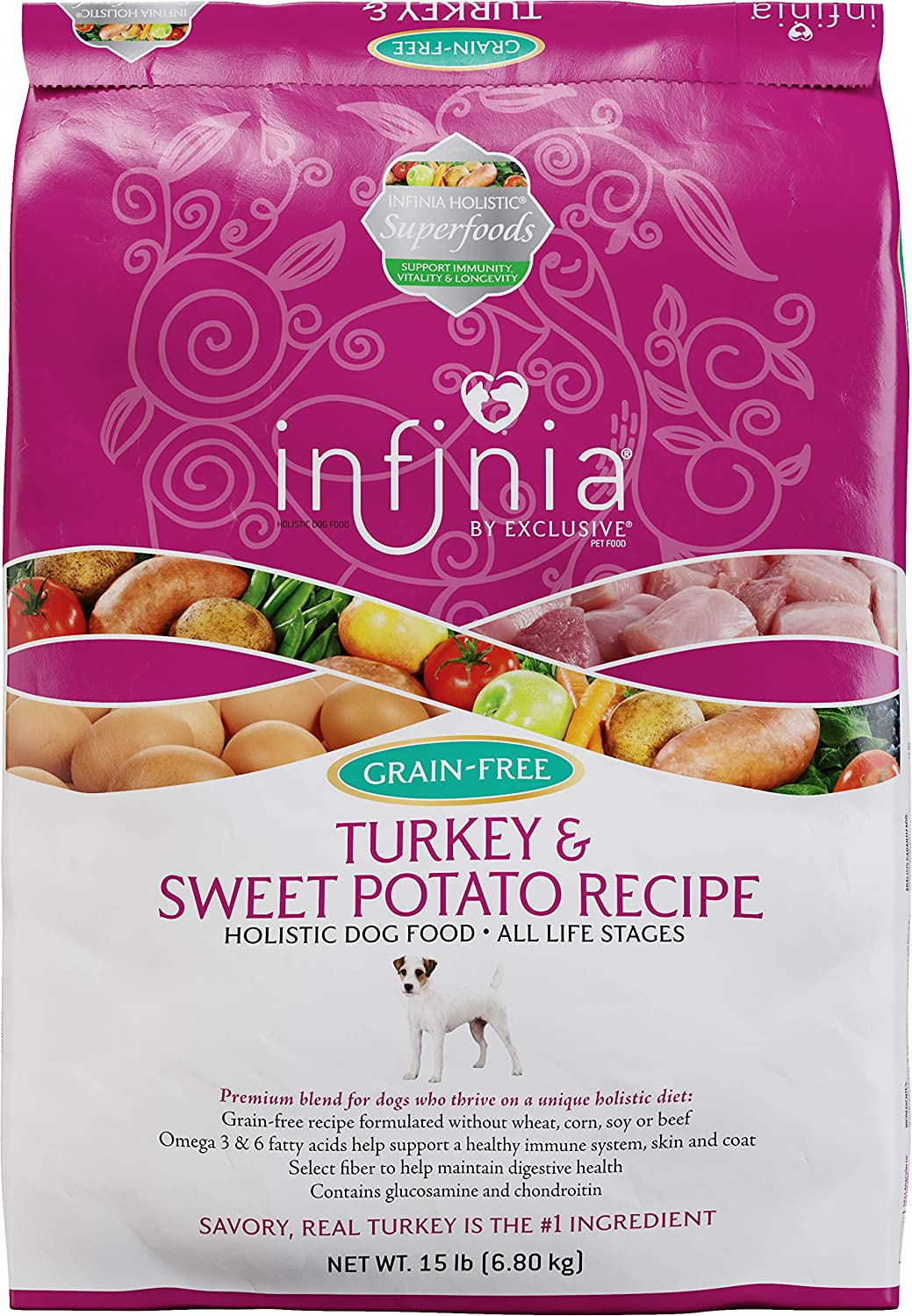 Infinia Turkey and Sweet Potato Recipe Adult Dog Food, 15 lb Bag