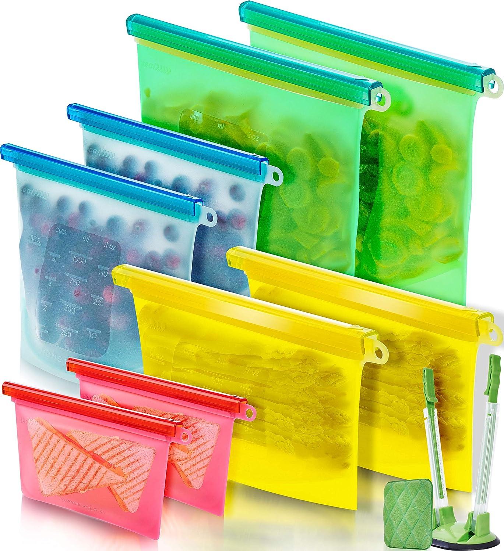Reusable Silicone Food Bag (8 Pack) Reusable Silicone Food Storage Bag - Silicone Storage Bags Reusable Silicone Bags Reusable Storage - Reusable Silicone Food Storage Bags Reusable Silicone Food Bags