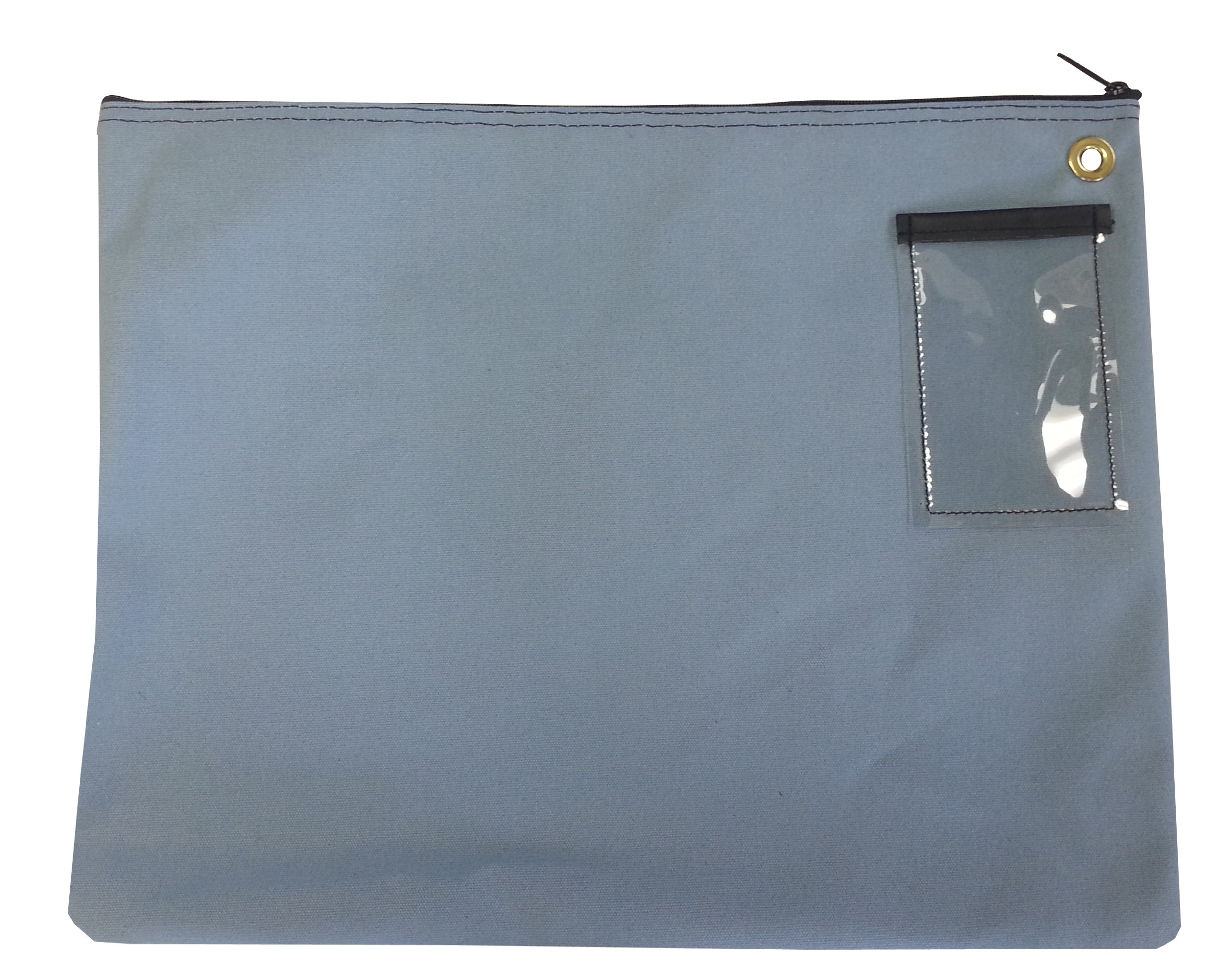 Interoffice Mailer Canvas Transit Sack Zipper Bag 18w x 14w Gray/Blue