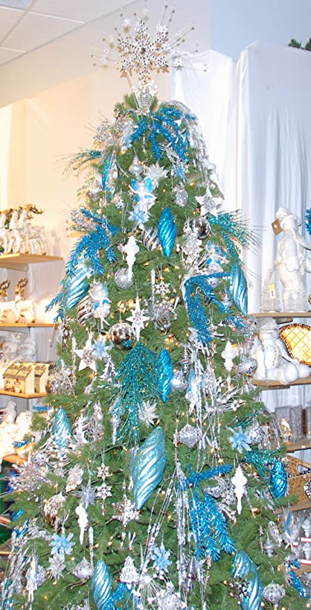 9 custom christmas tree decorating kit blue shimmer - Complete Christmas Tree Decorating Kit