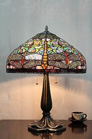 Europea Dragonfly Tiffany Lámpara de mesa de 16 pulgadas de la ...