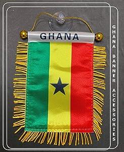 PRK 14 Ghana African Afro pan African Red Black Green Flag for car Home Walls Doors Windows & More (Ghana 001)