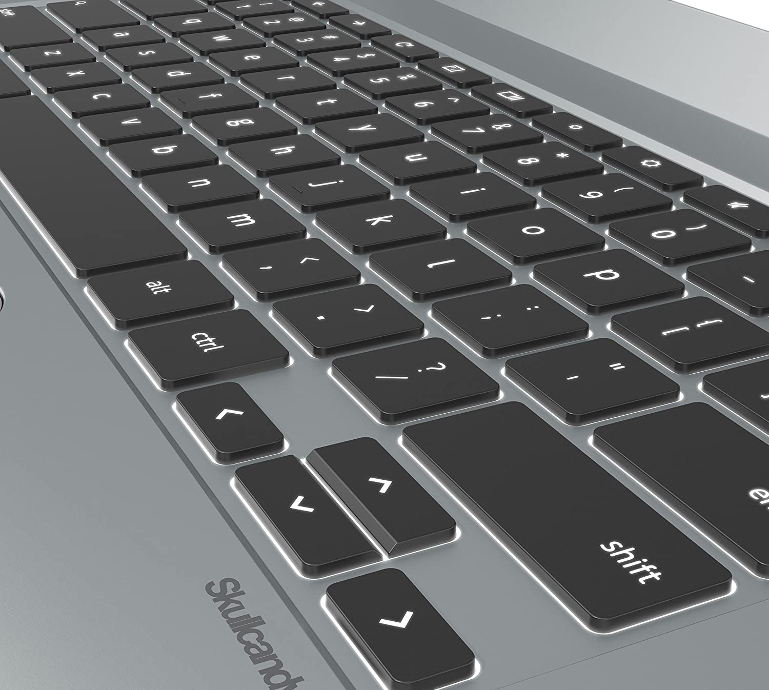 Chromebook with backlit keyboard.