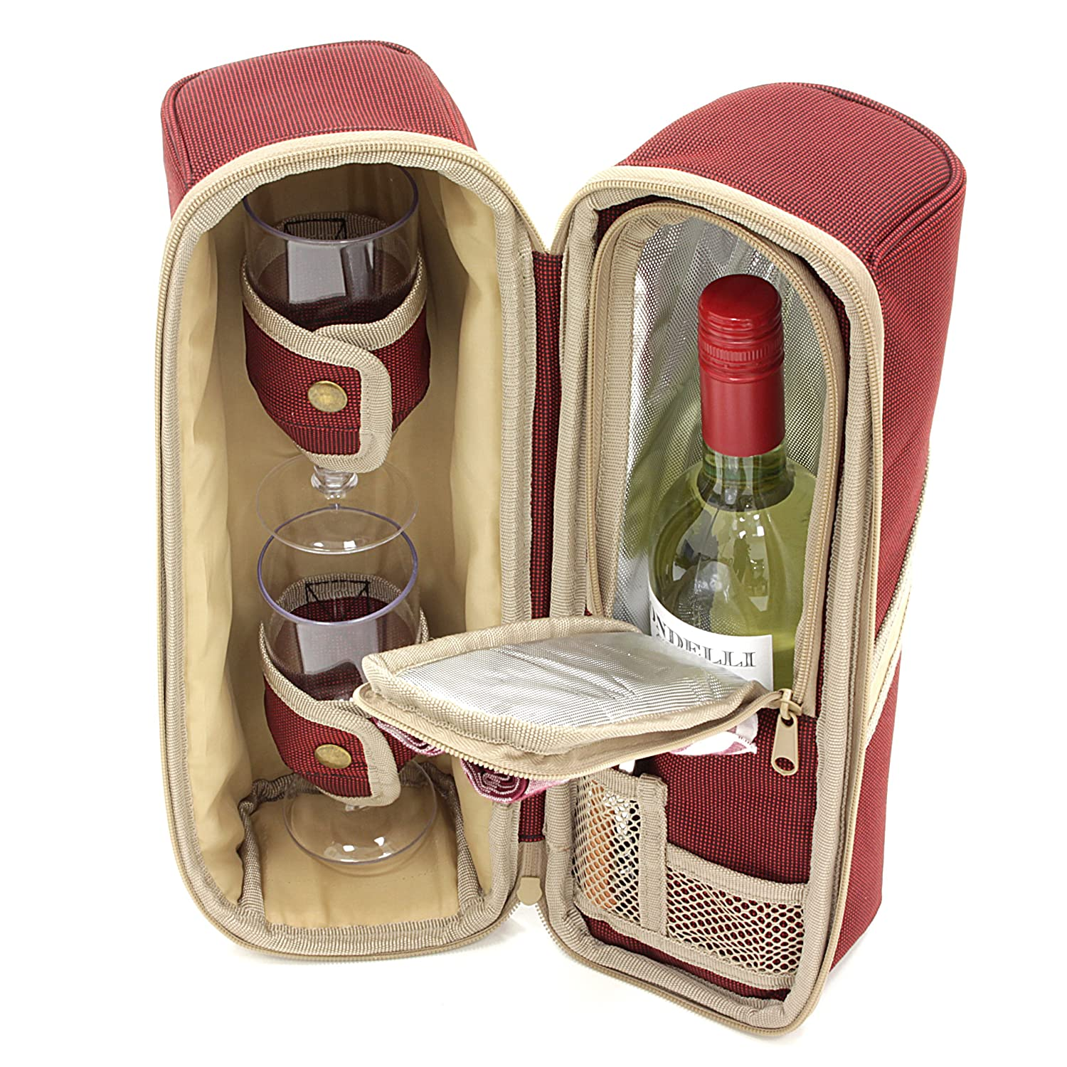 Greenfield Collection Deluxe Forest Green Wine Cooler Bag for Two People WP004H