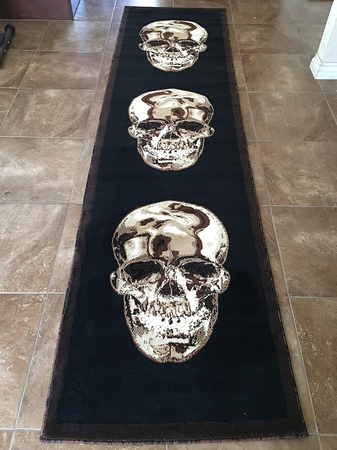 Skull Runner Area Rug Brown Amp Black Design Awesome Skulls