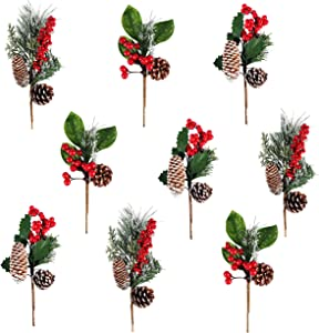 Alonsoo Artificial Pine Picks Berries Pinecones for ceafts, Needle Small Berries Pinecones Christmas Tree Picks and Sprays Artificial Christmas Greenery Flowers Branches 9pcs.