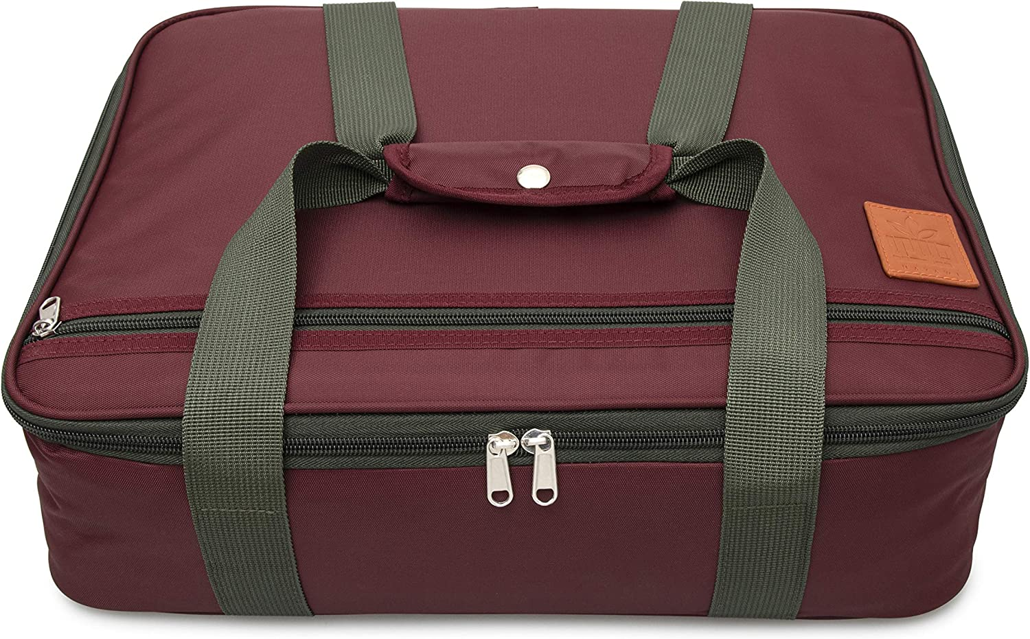 "Hayawi Insulated Casserole Carrier for Hot or Cold Food, Perfect Lasagna Lugger for Potlucks, Picnics, Cookouts, Fits 9"" x 13"" Baking Dish, Burgundy"
