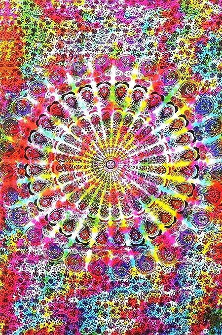 Amazon Com Colorful Tie Dye Mandala Tapestry Hippie Hippy Throw