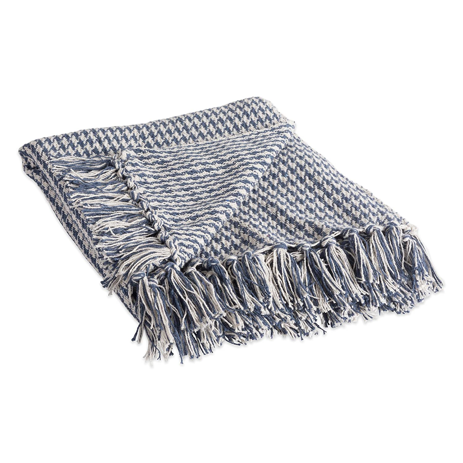 """DII Rustic Farmhouse Cotton Houndstooth Blanket Throw with Fringe For Chair, Couch, Picnic, Camping, Beach, & Everyday Use , 50 x 60"""" - French Blue"""