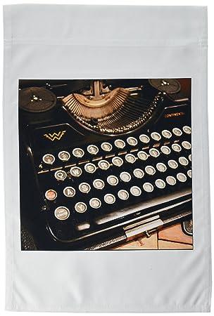 3dRose fl _ 29072 _ 1 Continental máquina de escribir bandera de Jardín, 12 por