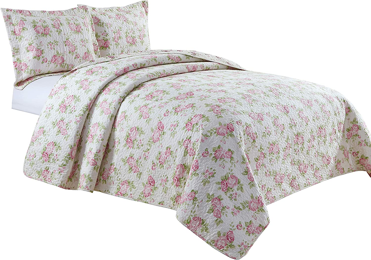 Chezmoi Collection Dakota 3PC 2-in-1 Reversible Pink Rose Vintage Washed 100%-Cotton Quilt Set (Queen)