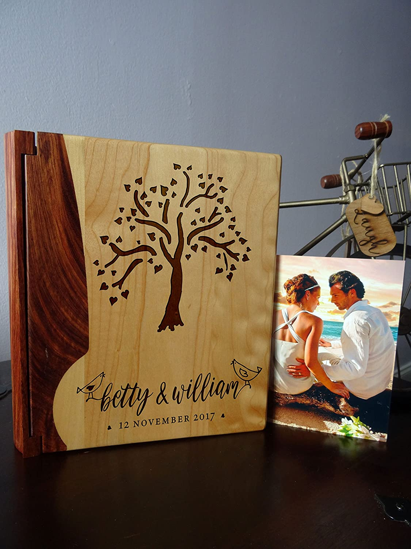 Maple /& Walnut Cover Custom Engraved Wedding Album LoveToCreateStamps Personalized Wood Cover Photo Album Style 128