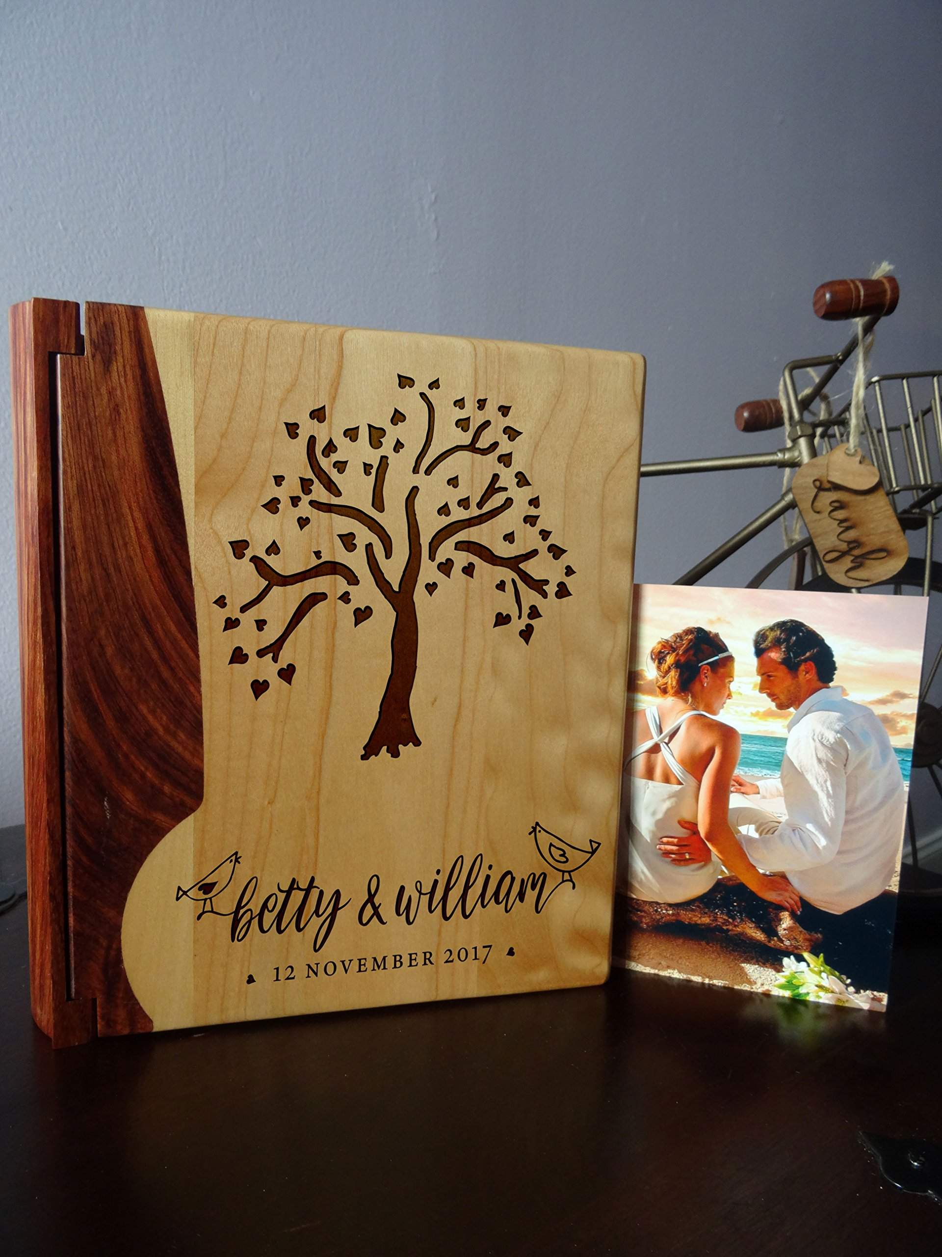Personalized Wood Cover Photo Album, Custom Engraved Wedding Album, Style 128 (Maple & Walnut Cover)