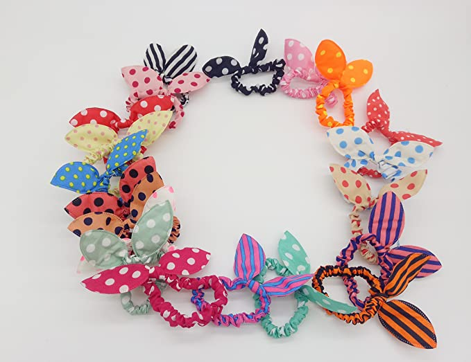 20PCS Cute Girls Hair Tie Bands Rabbit Ear Hair Tie Bands Ropes Ponytail  Holder Bow Tie 0559bcaeca4