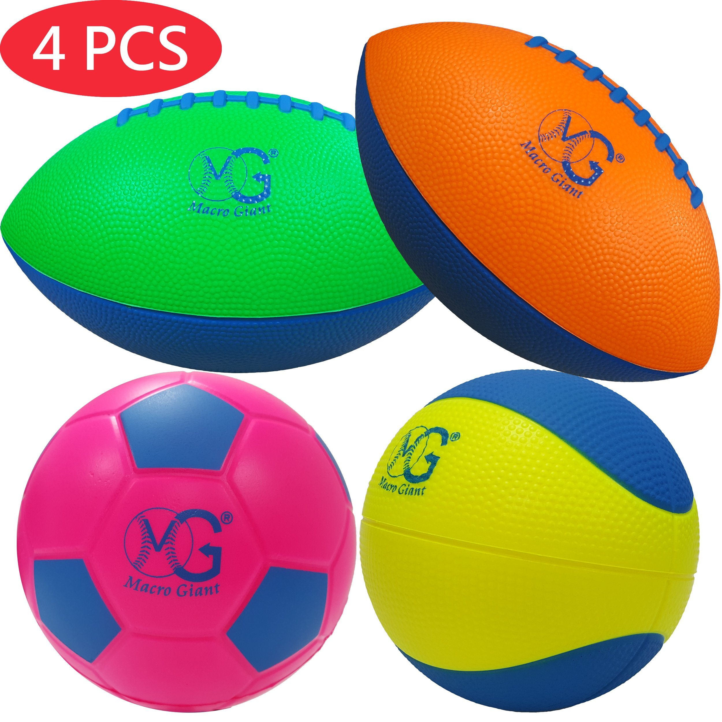 Macro Giant Foam Soft Colorful Sport Pack Set of 4, Mini 9 Inch Football x2, 6 Inch Soccer Ball x1, 6 Inch Basketball x1, Training Practice, School Playground, Kids Toy Gift, Birthday Gift by Macro Giant