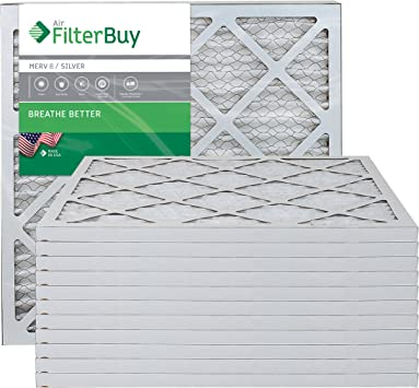 Silver FilterBuy 16x30x1 MERV 8 Pleated AC Furnace Air Filter, Pack of 2 Filters 16x30x1